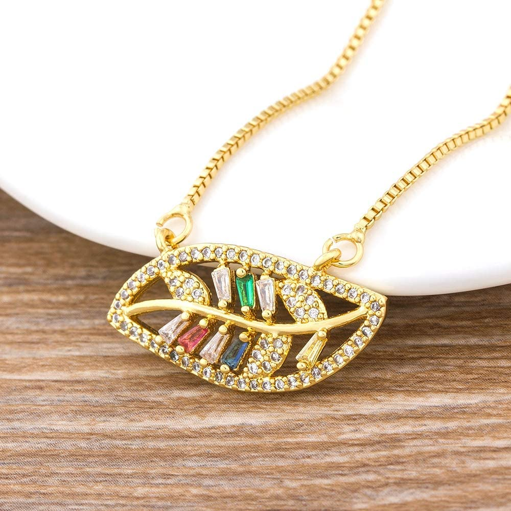 Naswi Gold Filled Rainbow Leaf Shape Collar Copper Zirconia Charm Pendant Necklace Jewelry collares de figuras for Women