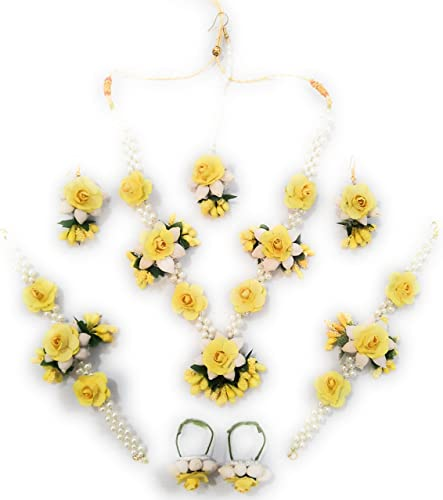 Floral Jewellery Set Yellow and White Mehndi Haldi Bridal Baby Shower