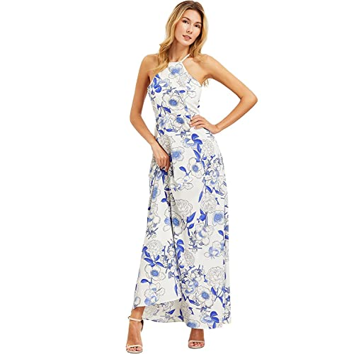 78a253a4ee8 Floerns Women s Sleeveless Halter Neck Vintage Floral Print Maxi Dress