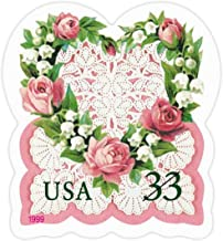 Love: Victorian Heart with Roses, Lily of the Valley and Lace, Full Convertible Booklet of 20 x 33-Cent Postage Stamps, USA 1999, Scott 3274