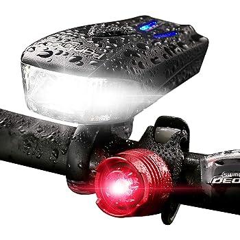 bater/ía de litio de 800 mah f/ácil de instalar luz LED para bicicleta delantera s/úper brillante Lilon Juego de luces recargables USB para bicicleta se adapta a todas las bicicletas modo de 3 luces