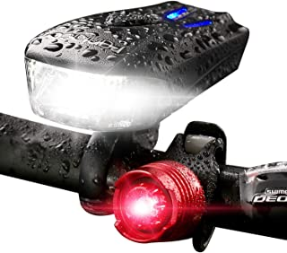 Bicycle Headlight 800 Lumen USB Rechargeable 5 Modes Led Bike Lights Front and Back Set(Super Wide Range Design),Free Rear Tail Light Road Best Cycling Flashlight for Outdoor,IP65 Water-Resistant