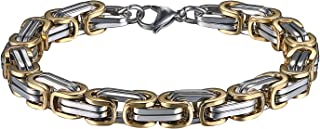 OIDEA Bracciale a maglia bizantina, argento per uomo, in acciaio inox, bracciale con charm, colore: oro e nero