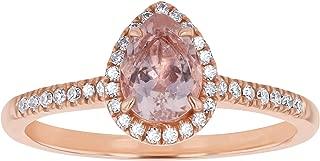 14K Rose Gold Pear Shape Gem & Diamond Vintage Engagement Ring (0.15 cttw, H-I, SI2-I1)