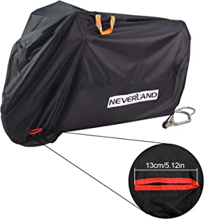 NEVERLAND Motorcycle Covers, Heavy Duty 210D Waterproof UV Protective Tear Proof Motorbike Cover with Safety Cloth Lock Holes Design, All Weather Outdoor Protection (XL Fits up to 96