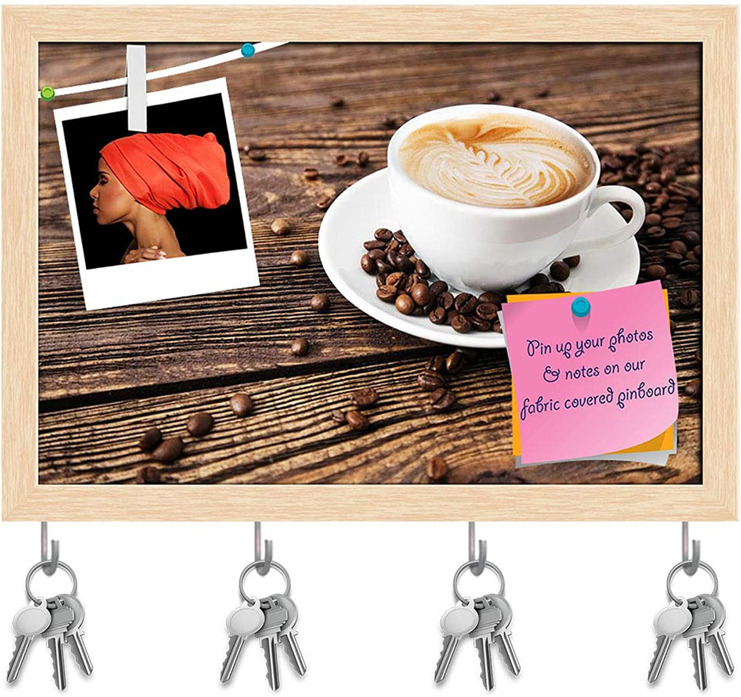 Artzfolio Photo of Cup of Coffee On A Wooden Table Key Holder Hooks   Notice Pin Board   Natural Brown Frame 14.5 X 10Inch