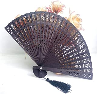 Clearance Sale!DEESEE(TM)🌸🌸Wedding Hand Fragrant Party Carved Bamboo Folding Fan Chinese Style Wooden Sandalwwood Fan (D)