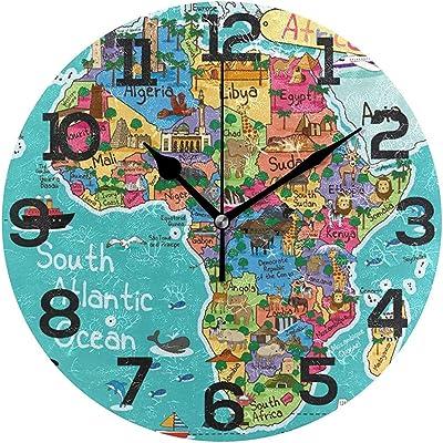 sam-shop Reloj de Pared de Dibujos Animados de Mapa de África ...