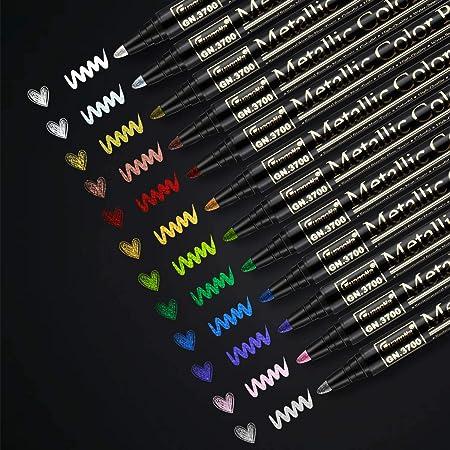 RATEL Marqueurs Métalliques,12 Couleurs Brillantes Stylos marqueurs métalliques pour Bricolage Artisanat d'art, Peinture rupestre, Métalliques Feutre Stylos pour la céramique- Pointe Moyenne (2mm)