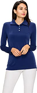 Made By Johnny Women's Long Sleeve Polo Shirt Top with Buttons-Made in U.S.A.