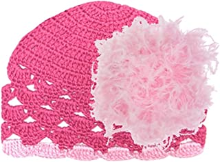 Jamie Rae Hats Raspberry Scalloped Crochet Hat with Candy Pink Large Curly Marabou, Size: 6-12m