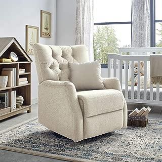 Classic Brands Cynthia Popstitch Upholstered Glider Swivel Rocker Chair, Shell