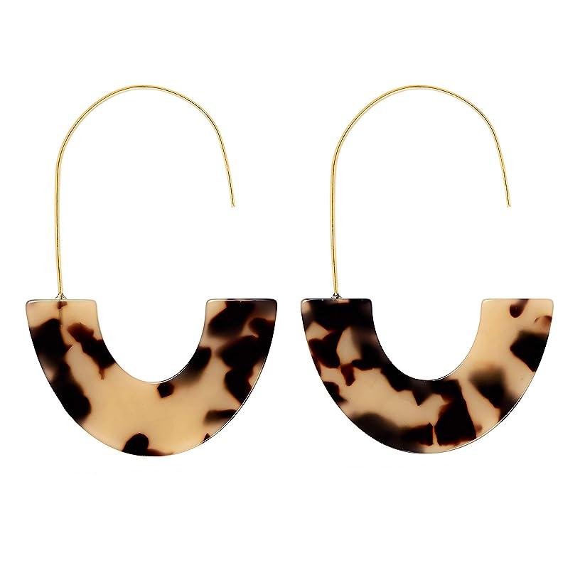 D-buy Acrylic Earrings Statement Half Ring Geometric Earrings Resin Drop Dangle Earrings Fashion Jewelry for Women (Leopard/Medium)