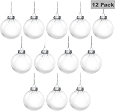 Christmas Ball (12 Pack) - Clear Round Flat Transparent Plastic Xmas Baubles Christmas Ornaments for Holiday Event, Wedding Party Decoration, Hanging Arts and DIY Fillable Crafts Accessories