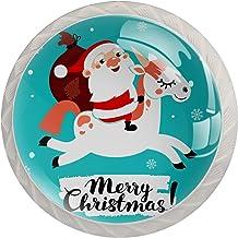 Kabinet lade knoppen schattige eenhoorn en kerstman trekt handgrepen voor keuken kast badkamer kast dressoir, 4 Pack