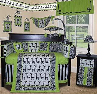 SISI Baby Boy Boutique - Lime Zebra 13 Pcs Baby Bedding Nursery Crib Set