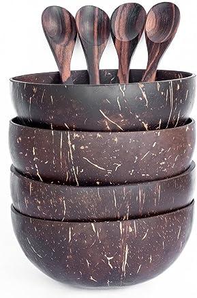 Preisvergleich für Kokosnuss Schale und Löffel (Set von 4)–100% Natural, Hand Made, poliert mit Kokosöl, langlebig, leicht, leicht zu reinigen, langlebig, vegan. Für Frühstück, mit, Dekoration