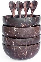 OrganicMe Cuenco y Cuchara de Coco (Juego de 4) - 100% Natural, Hecho a Mano, Pulido con Aceite de Coco, Duradero, Ligero, fácil de Limpiar, Apto para Veganos para el Desayuno, Servir, decoración.