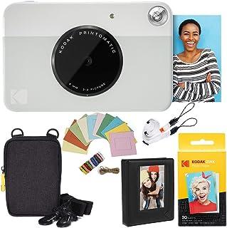 KODAK: Paquete cámara instantánea Printomatic (Gris) + Papel Zink (20 Hojas) + Funda álbum de Fotos + Marcos para Colgar + cómoda Correa para el Cuello.