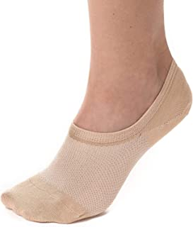 Bam&bü Women's Premium Bamboo No Show Casual Socks - 4 pair pack - Non-Slip/Beige/Medium