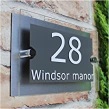 Deurnummer Plaques Aanpassen 200x140mm MODERN HUIS SIGN PLAQUE DEURNUMMER STREET GLAS EFFECT NAAM Deurnummer (Kleur: Grij...