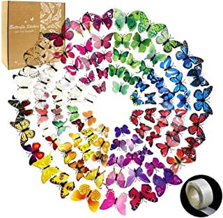 YGEOMER 96pcs Removable Mural 3D Butterfly Wall Stickers Decal for Home & Room Decoration, 8 Colors, 1 Sheet of Dot Glue Stickers as Gift in per Pack