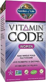 Garden of Life Multivitamin for Women - Vitamin Code Women's Raw Whole Food Vitamin Supplement with Probiotics, Vegetarian, 240 Capsules