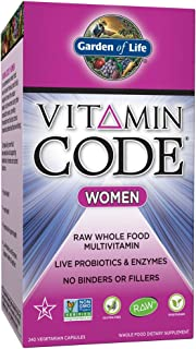 Garden of Life Multivitamin for Women - Vitamin Code Women's Raw Whole Food Vitamin Supplement with Probiotics, Vegetarian, 240 Count