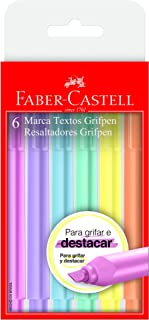 Caneta Marca Texto, Faber-Castell, Grifpen, MT/TP6ZF, Tons Pastéis, 6 Cores