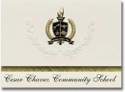 Signature-Ankündigungen Cesar Chavez Community-Schule (Albuquerque, NM) Abschlussankündigungen, Pr dential-Stil, Gründpaket mit 25 Goldfarbenen und Schwarzn Metallfolienversiegelungen