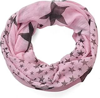 Miobo Leichter Damen Loop Schal, Schlauchschal, Sterne Muster und Strass Applikation, Einheitsgröße