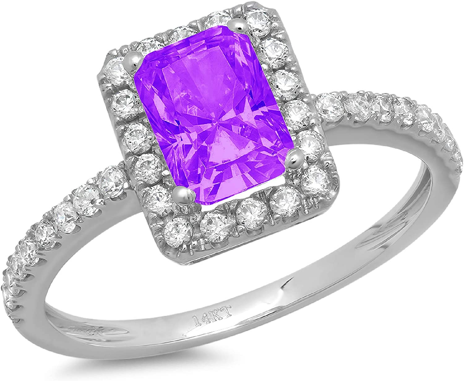 1.95ct Brilliant Emerald Cut Solitaire with Accent Halo Natural Purple Amethyst Gem Stone VVS1 Designer Modern Statement Ring Solid 14k White Gold Clara Pucci