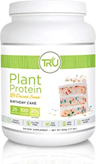 TRU Plant Based Protein Powder, Natural Flavor, Vegan & Keto Friendly, No Artificial Sweeteners, No Dairy, No Soy, 25 Servings (Birthday Cake)