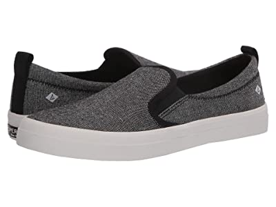 Sperry Crest Twin Gore Sparkle Linen Sneaker (Black) Women