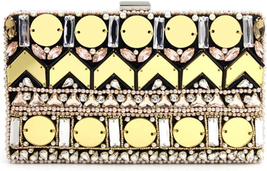 LJJ Ladies Rhinestones Diamonds Sequins Beaded Handmade Banquet Evening Bags Fashion Versatile Wedding Bridal Gowns Clutches Bags Chain Diagonal Shoulder Bag Gold for Women (Color : Black)