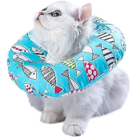 Waterproof Pet Dog Cat Elizabethan Collar Adjustable Protective Pet Neck Cotton Collar Cute Pattern Anti-Licking Ring S B