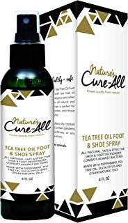 Nature's Cure-All Antifungal Foot and Shoe Deodorizer Spray (4oz) | Natural, Safe & Effective Odor Eliminator Deodorant | Combats Against Bacteria | Made in USA with Tea Tree & Other Essential Oils