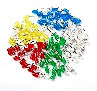 5 mm LED sortiment 100 stycken, 20 röd, 20 grön, 20 gul 20 blå 20 vita lysdioder LED ljus *elpål*