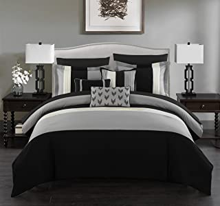 Chic Home BCS00842-AN Ayelet 10 Piece Comforter Set Color Block Ruffled Bag Bedding-Decorative Pillows Shams Included, Que...