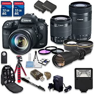 Canon EOS 7D Mark II DSLR Camera Bundle with Canon EF-S 18-55mm f/3.5-5.6 IS STM Lens + Canon EF-S 55-250mm f/4-5.6 IS STM Lens + 500mm f/8 Preset Lens - International Model