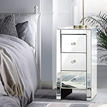 Artiss Bedside Table, Mirrored Sofa Side Table, Silver