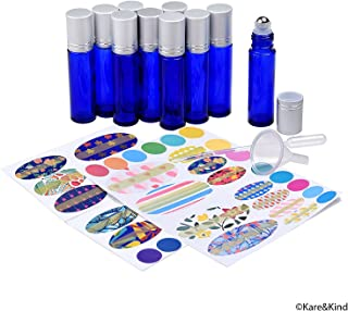 Kare & Kind Essential Oil Bottle Kit - 10xEssential Oil Bottle (1/3 oz - 10 ml), 1xTool for Opening/Sealing Bottles, 78x Label, 1x Mini Dropper + 1x Mini Funnel (Cobalt Blue)