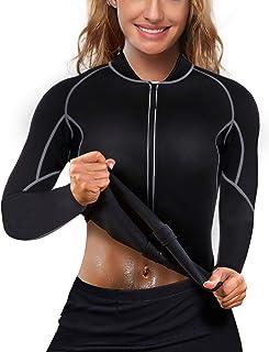 Nebility Women Waist Trainer Jacket Hot Sweat Shirt Weight Loss Sauna Suit Workout Body Shaper Neoprene Top Long Sleeve