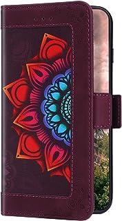 Uposao Kompatibel mit Huawei P20 Lite Hülle Wallet Leder Handyhülle Bunt Mandala Blumen Klapphülle Brieftasche Schutzhülle...