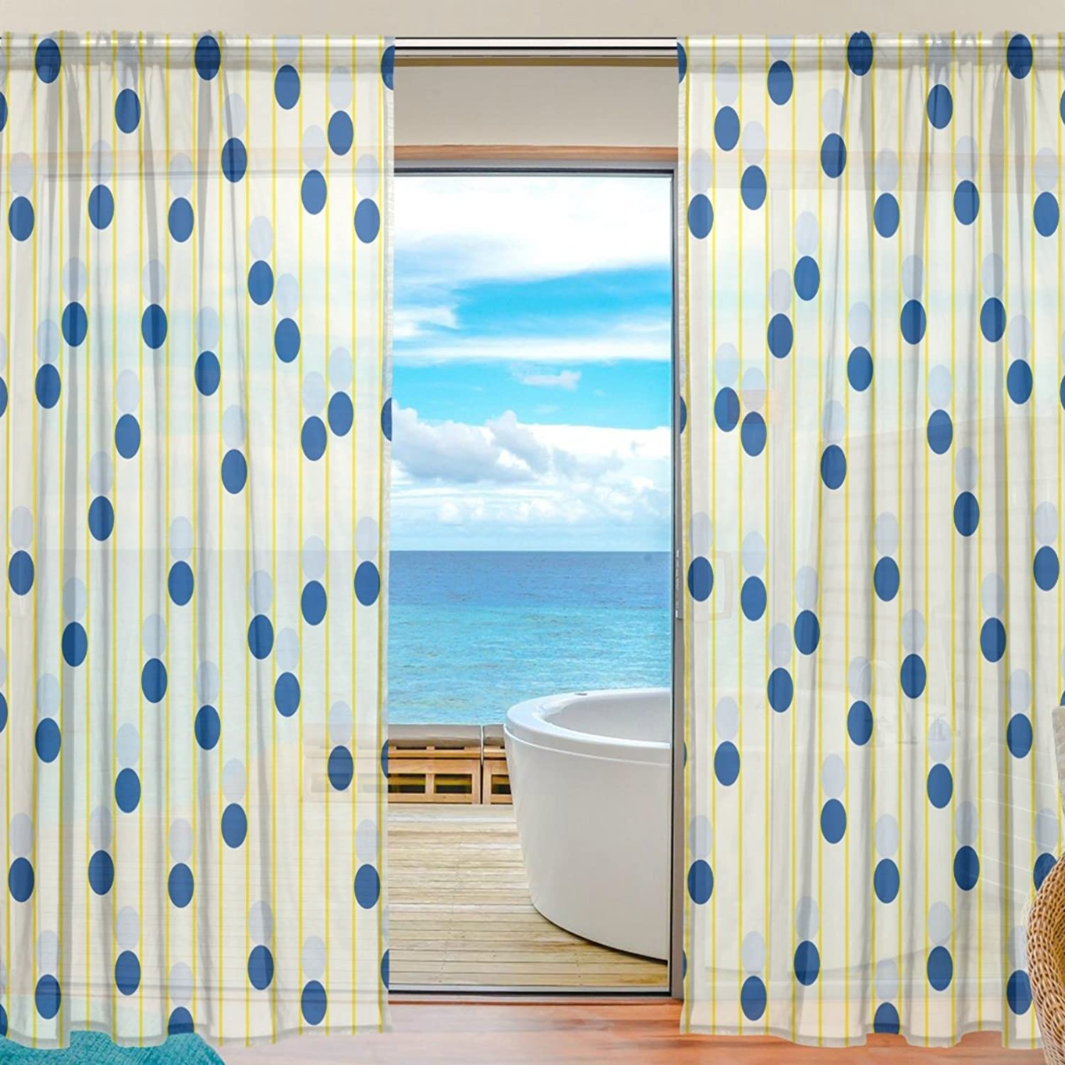 Vantaso Sheer Curtains 78 inch Long bluee Polka Dots for Kids Girls Bedroom Living Room Window Decorative 2 Panels