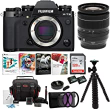 Fujifilm X-T3 Mirrorless Digital Camera w/XF18-55 Lens (Black) Accessory Bundle + Sandisk 128GB Ultra UHS-I + 2 NP-W126 & Dual Charger + 58mm 3-Piece Filter Kit + Deluxe Photo Software