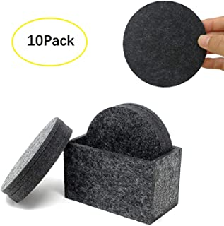 Absorbent Felt Coasters Set of 10(4 Inch Round, 5mm Thick), Modern Decorative Drink Coasters with Holder,Table Coasters for Drinks Absorbent to Protect your Furniture,House Warming Gift (Deep grey)