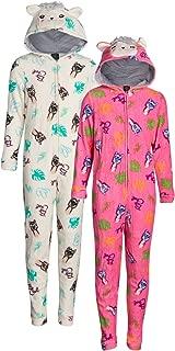dELiAs Girls Coral Fleece Onesie Pajamas with Character Hood (2 Pack)