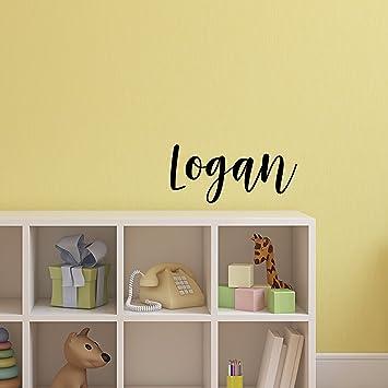 Cute Wall Art Decals for Baby Boy Nursery Room Decor Vinyl Wall Art Decal Boys Name 12 x 29, Black Text Logan Text Name Little Boys Bedroom Vinyl Wall Decals 12 x 29