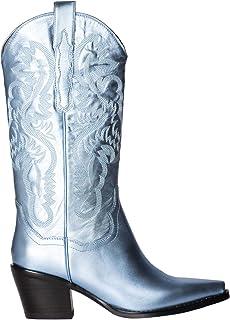 Botas Texano Dagget de piel laminada con bordados, mod. 50221-01